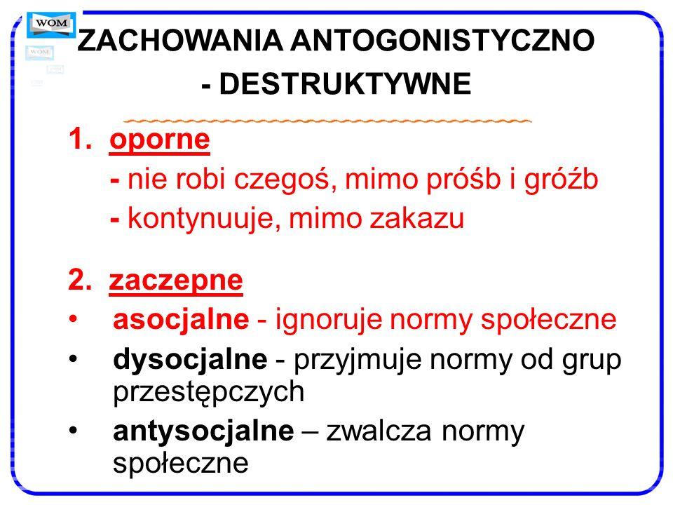 ZACHOWANIA ANTOGONISTYCZNO - DESTRUKTYWNE 1. oporne - nie robi czegoś, mimo próśb i gróźb - kontynuuje, mimo zakazu 2. zaczepne asocjalne - ignoruje n