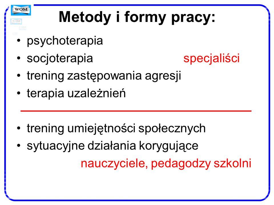 Metody i formy pracy: psychoterapia socjoterapia specjaliści trening zastępowania agresji terapia uzależnień trening umiejętności społecznych sytuacyj