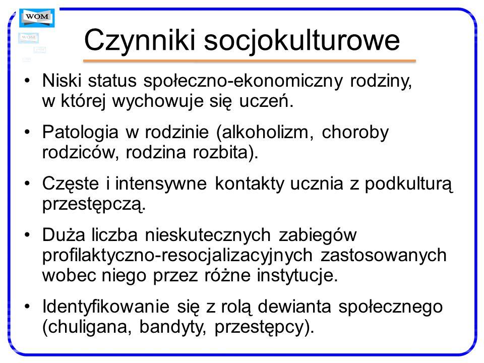Czynniki socjokulturowe Niski status społeczno-ekonomiczny rodziny, w której wychowuje się uczeń. Patologia w rodzinie (alkoholizm, choroby rodziców,