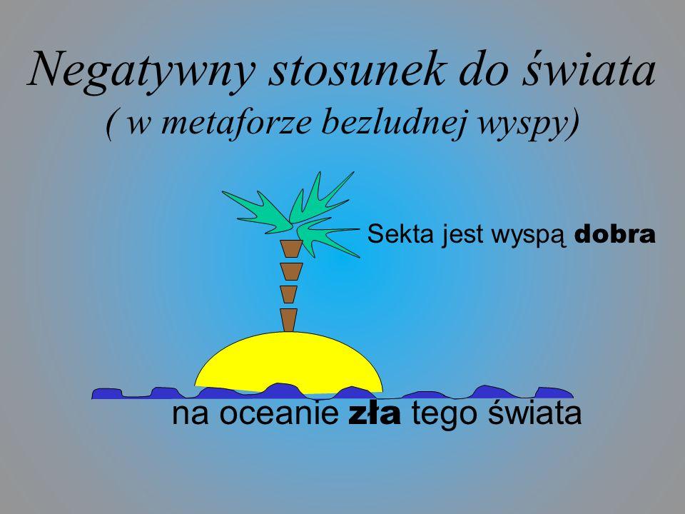 Negatywny stosunek do świata ( w metaforze bezludnej wyspy) Sekta jest wyspą dobra na oceanie zła tego świata