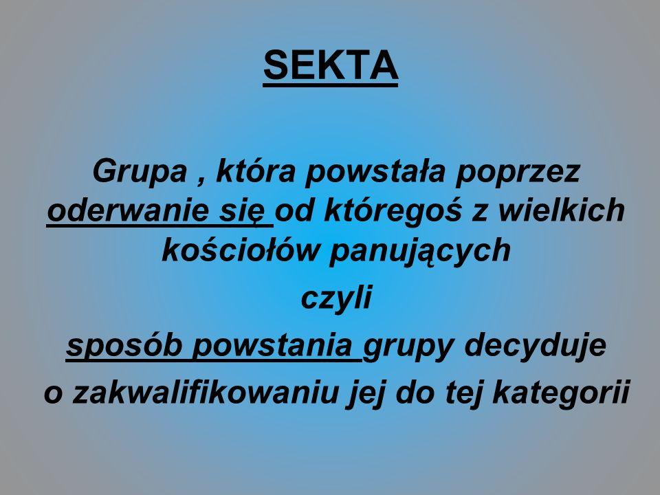 SEKTA Grupa, która powstała poprzez oderwanie się od któregoś z wielkich kościołów panujących czyli sposób powstania grupy decyduje o zakwalifikowaniu jej do tej kategorii