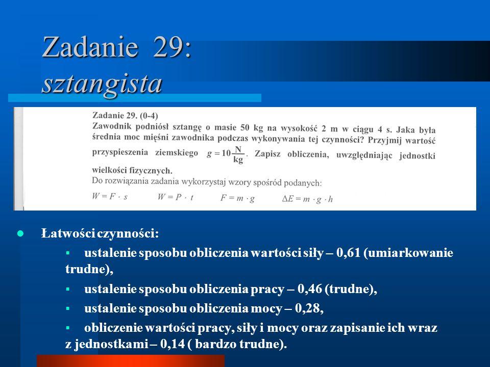 Zadanie 29: sztangista Łatwości czynności: ustalenie sposobu obliczenia wartości siły – 0,61 (umiarkowanie trudne), ustalenie sposobu obliczenia pracy