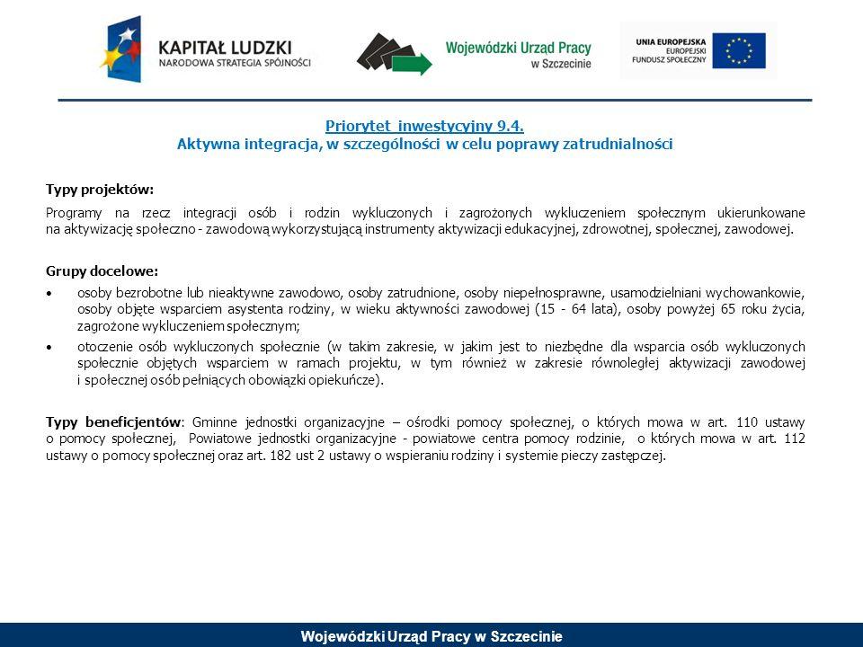 Wojewódzki Urząd Pracy w Szczecinie Priorytet inwestycyjny 9.4. Aktywna integracja, w szczególności w celu poprawy zatrudnialności Typy projektów: Pro