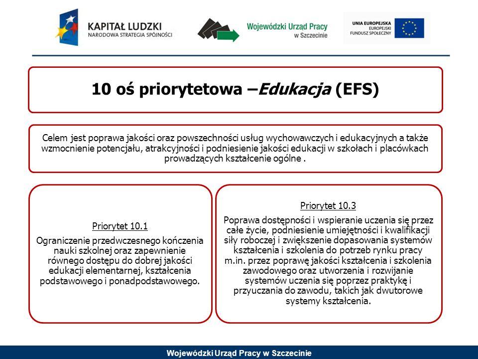 Wojewódzki Urząd Pracy w Szczecinie 10 oś priorytetowa –Edukacja (EFS) Celem jest poprawa jakości oraz powszechności usług wychowawczych i edukacyjnyc