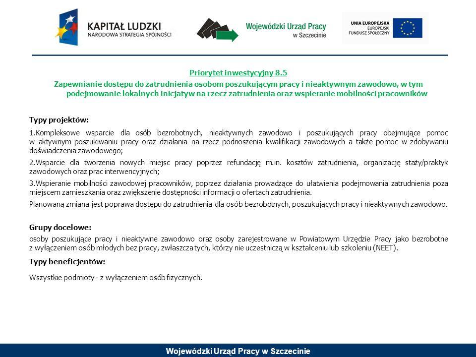 Wojewódzki Urząd Pracy w Szczecinie Priorytet inwestycyjny 8.7 Samozatrudnienie, przedsiębiorczość oraz tworzenie nowych miejsc pracy Typy projektów: Wsparcie przedsiębiorczości, samozatrudnienia oraz tworzenia nowych miejsc pracy, poprzez preferencyjne pożyczki dla osób planujących rozpoczęcie działalności gospodarczej, bezzwrotne dotacje na rozpoczęcie działalności gospodarczej dla osób w najtrudniejszej sytuacji na rynku pracy, programy zwrotne oraz wsparcie doradczo-szkoleniowe dla osób planujących rozpoczęcie działalności gospodarczej przez wyspecjalizowane instytucje oraz zgodnie z wypracowanymi i obowiązującymi standardami świadczenia usług.