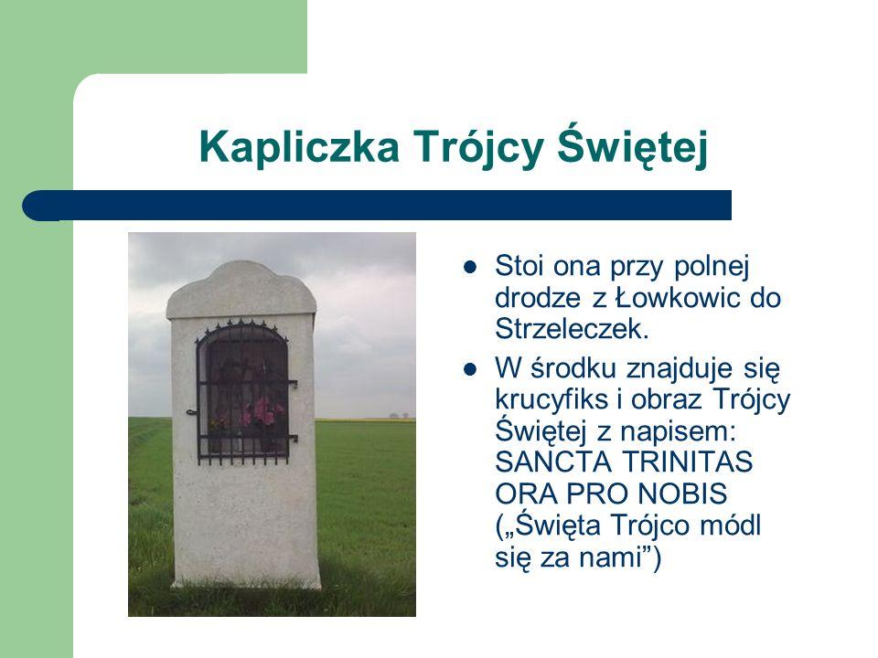 Kapliczka Trójcy Świętej Stoi ona przy polnej drodze z Łowkowic do Strzeleczek. W środku znajduje się krucyfiks i obraz Trójcy Świętej z napisem: SANC