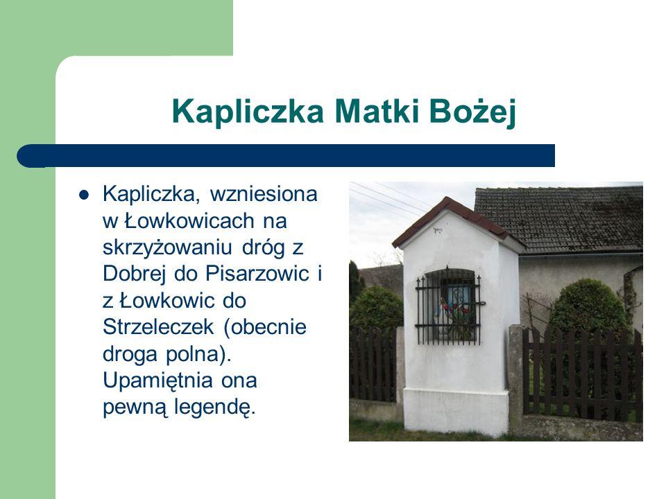 Kapliczka Matki Bożej Kapliczka, wzniesiona w Łowkowicach na skrzyżowaniu dróg z Dobrej do Pisarzowic i z Łowkowic do Strzeleczek (obecnie droga polna