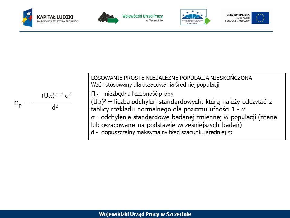 Wojewódzki Urząd Pracy w Szczecinie n p = (U ) 2 * 2 d 2 LOSOWANIE PROSTE NIEZALEŻNE POPULACJA NIESKOŃCZONA Wzór stosowany dla oszacowania średniej populacji n p – niezbędna liczebność próby (U ) 2 – liczba odchyleń standardowych, którą należy odczytać z tablicy rozkładu normalnego dla poziomu ufności 1 - - odchylenie standardowe badanej zmiennej w populacji (znane lub oszacowane na podstawie wcześniejszych badań) d - dopuszczalny maksymalny błąd szacunku średniej m