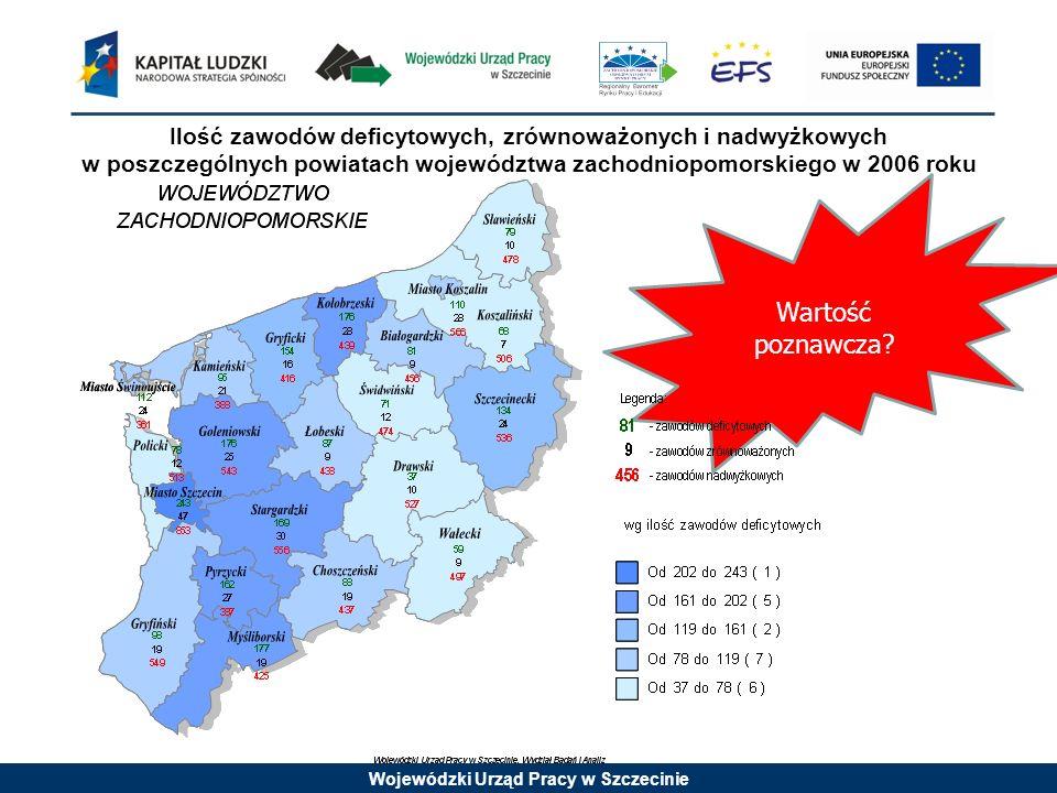 Wojewódzki Urząd Pracy w Szczecinie Ilość zawodów deficytowych, zrównoważonych i nadwyżkowych w poszczególnych powiatach województwa zachodniopomorski