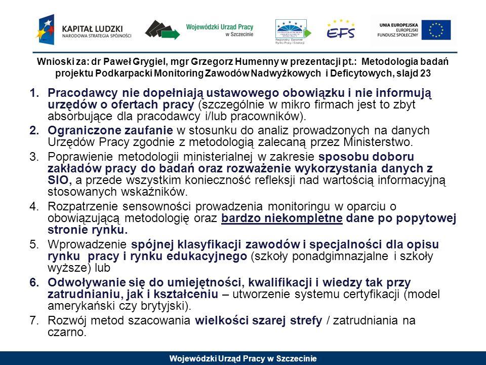 Wojewódzki Urząd Pracy w Szczecinie Wnioski za: dr Paweł Grygiel, mgr Grzegorz Humenny w prezentacji pt.: Metodologia badań projektu Podkarpacki Monit