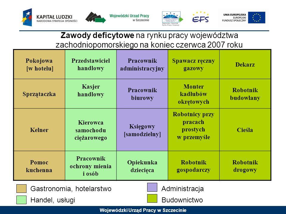 Wojewódzki Urząd Pracy w Szczecinie Zawody deficytowe na rynku pracy województwa zachodniopomorskiego na koniec czerwca 2007 roku Pokojowa [w hotelu]