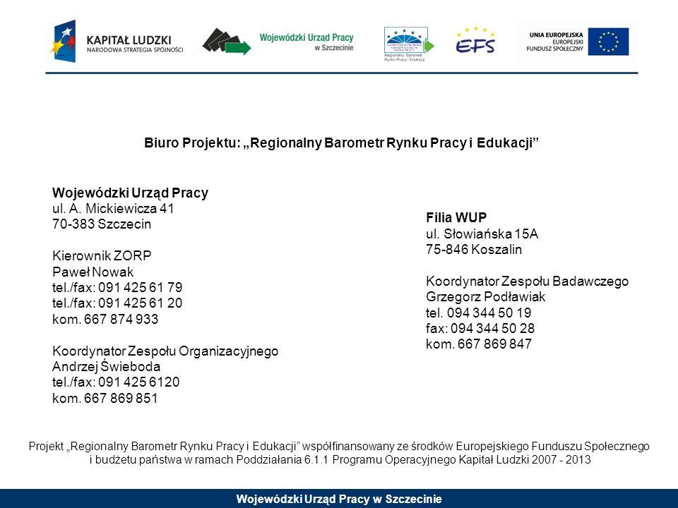 Wojewódzki Urząd Pracy w Szczecinie Projekt Regionalny Barometr Rynku Pracy i Edukacji współfinansowany ze środków Europejskiego Funduszu Społecznego