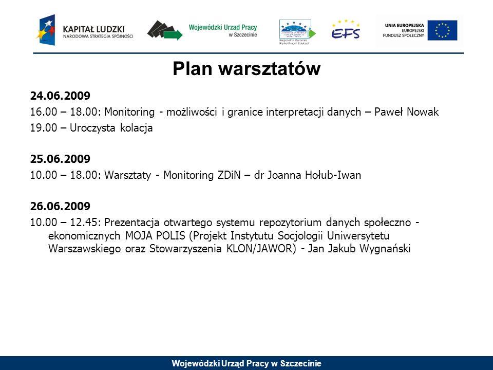 Wojewódzki Urząd Pracy w Szczecinie Plan warsztatów 24.06.2009 16.00 – 18.00: Monitoring - możliwości i granice interpretacji danych – Paweł Nowak 19.