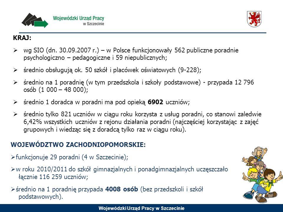 Wojewódzki Urząd Pracy w Szczecinie KRAJ: wg SIO (dn. 30.09.2007 r.) – w Polsce funkcjonowały 562 publiczne poradnie psychologiczno – pedagogiczne i 5