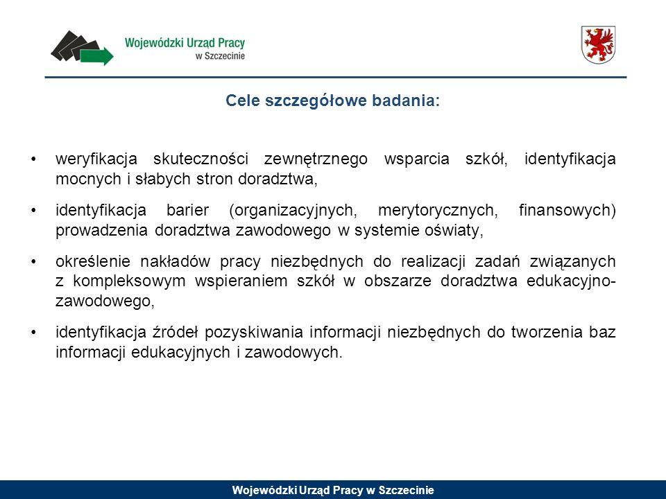 Wojewódzki Urząd Pracy w Szczecinie weryfikacja skuteczności zewnętrznego wsparcia szkół, identyfikacja mocnych i słabych stron doradztwa, identyfikac