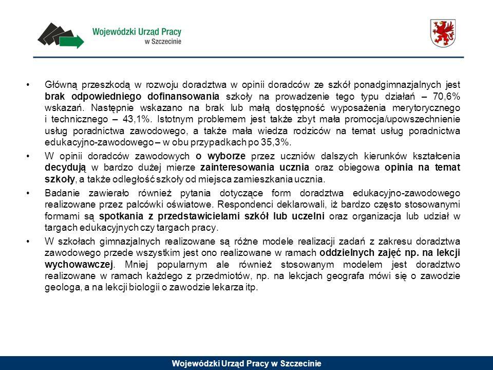 Wojewódzki Urząd Pracy w Szczecinie Główną przeszkodą w rozwoju doradztwa w opinii doradców ze szkół ponadgimnazjalnych jest brak odpowiedniego dofina