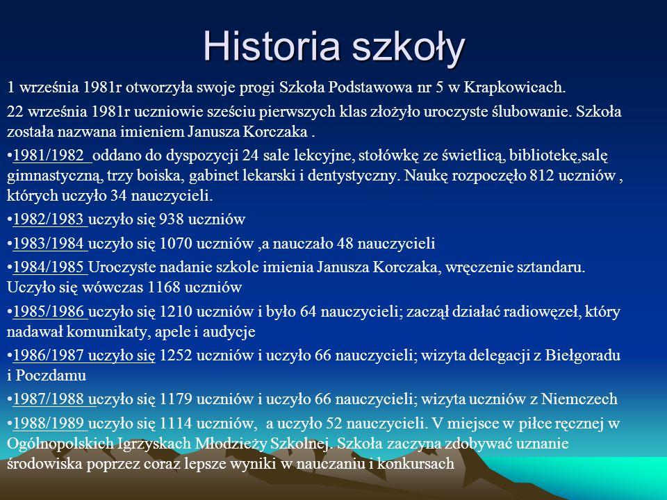 Historia szkoły 1 września 1981r otworzyła swoje progi Szkoła Podstawowa nr 5 w Krapkowicach. 22 września 1981r uczniowie sześciu pierwszych klas złoż