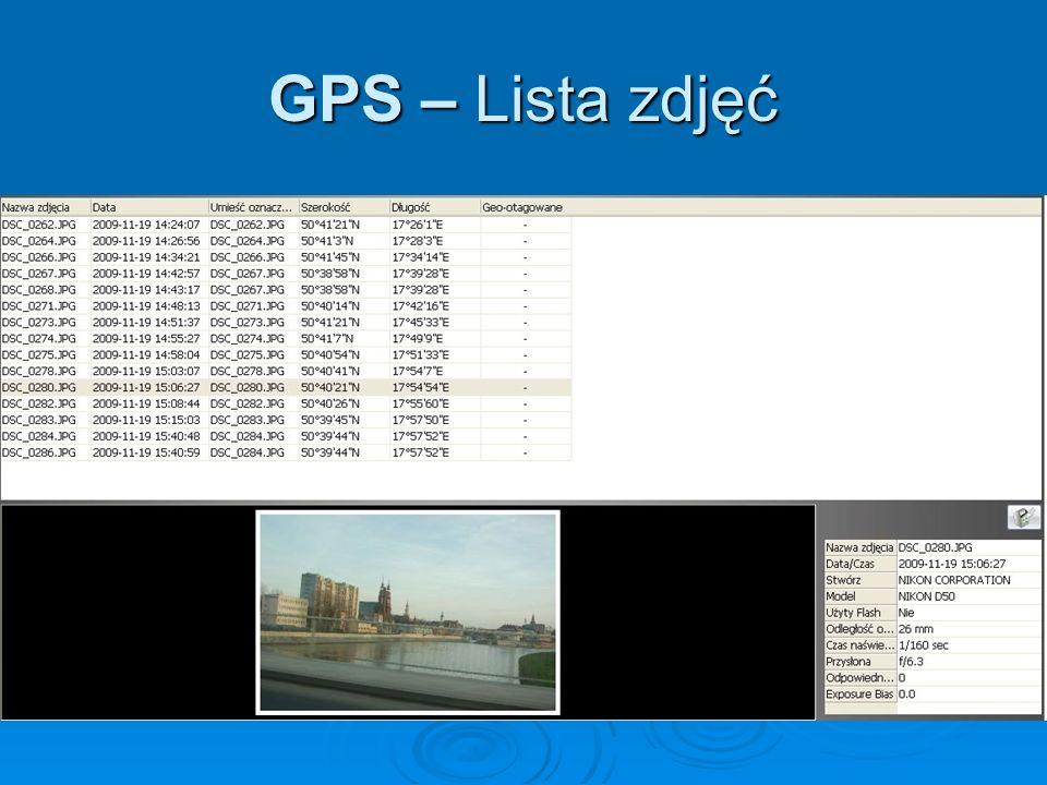 GPS – Lista zdjęć