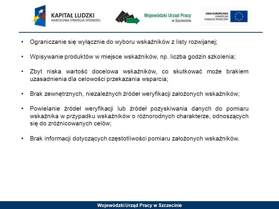 Wojewódzki Urząd Pracy w Szczecinie Ograniczanie się wyłącznie do wyboru wskaźników z listy rozwijanej; Wpisywanie produktów w miejsce wskaźników, np.