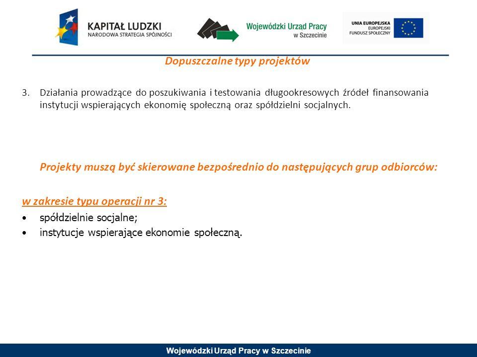 Wojewódzki Urząd Pracy w Szczecinie Dopuszczalne typy projektów 3.Działania prowadzące do poszukiwania i testowania długookresowych źródeł finansowania instytucji wspierających ekonomię społeczną oraz spółdzielni socjalnych.