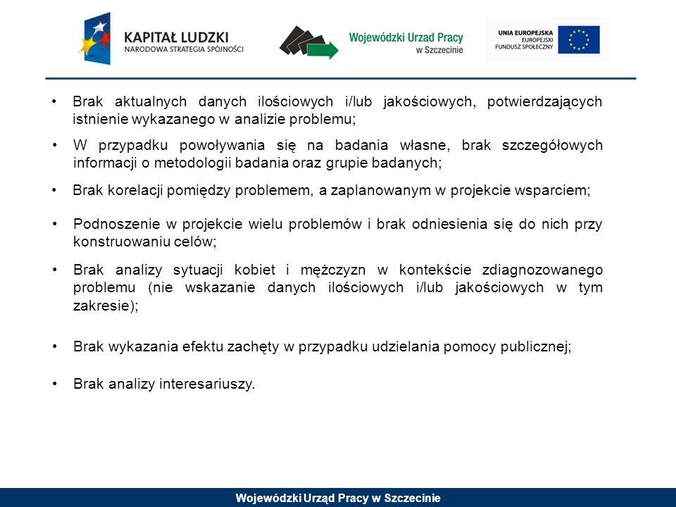 Wojewódzki Urząd Pracy w Szczecinie Brak aktualnych danych ilościowych i/lub jakościowych, potwierdzających istnienie wykazanego w analizie problemu;