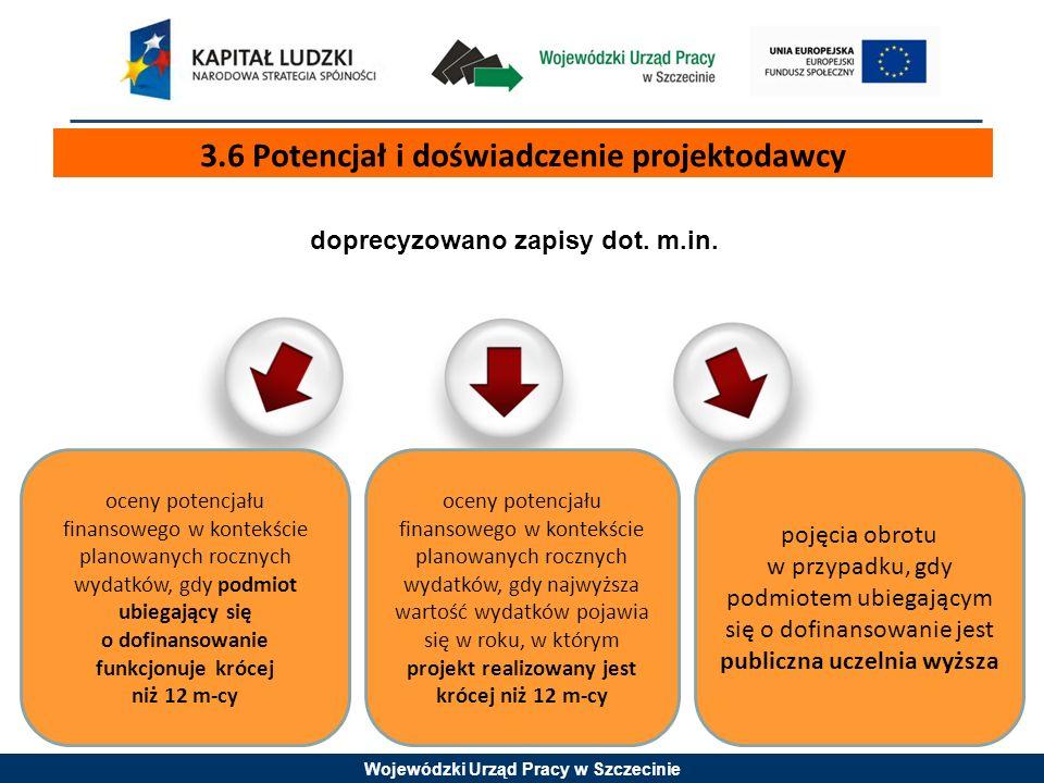 Wojewódzki Urząd Pracy w Szczecinie 3.6 Potencjał i doświadczenie projektodawcy doprecyzowano zapisy dot. m.in. oceny potencjału finansowego w kontekś