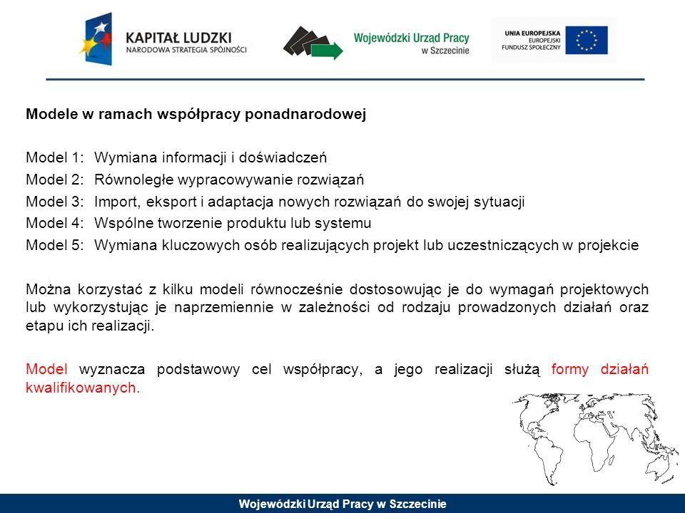 Wojewódzki Urząd Pracy w Szczecinie Modele w ramach współpracy ponadnarodowej Model 1:Wymiana informacji i doświadczeń Model 2:Równoległe wypracowywan