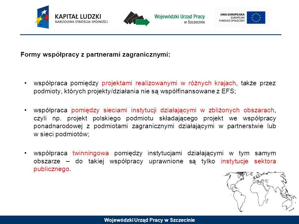 Wojewódzki Urząd Pracy w Szczecinie Formy współpracy z partnerami zagranicznymi: współpraca pomiędzy projektami realizowanymi w różnych krajach, także