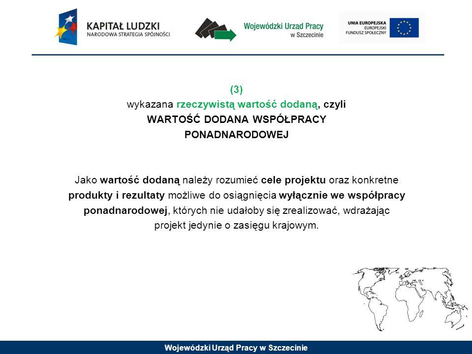 Wojewódzki Urząd Pracy w Szczecinie (3) wykazana rzeczywistą wartość dodaną, czyli WARTOŚĆ DODANA WSPÓŁPRACY PONADNARODOWEJ Jako wartość dodaną należy
