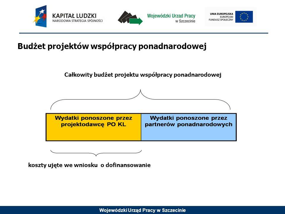 Wojewódzki Urząd Pracy w Szczecinie Budżet projektów współpracy ponadnarodowej Całkowity budżet projektu współpracy ponadnarodowej koszty ujęte we wni