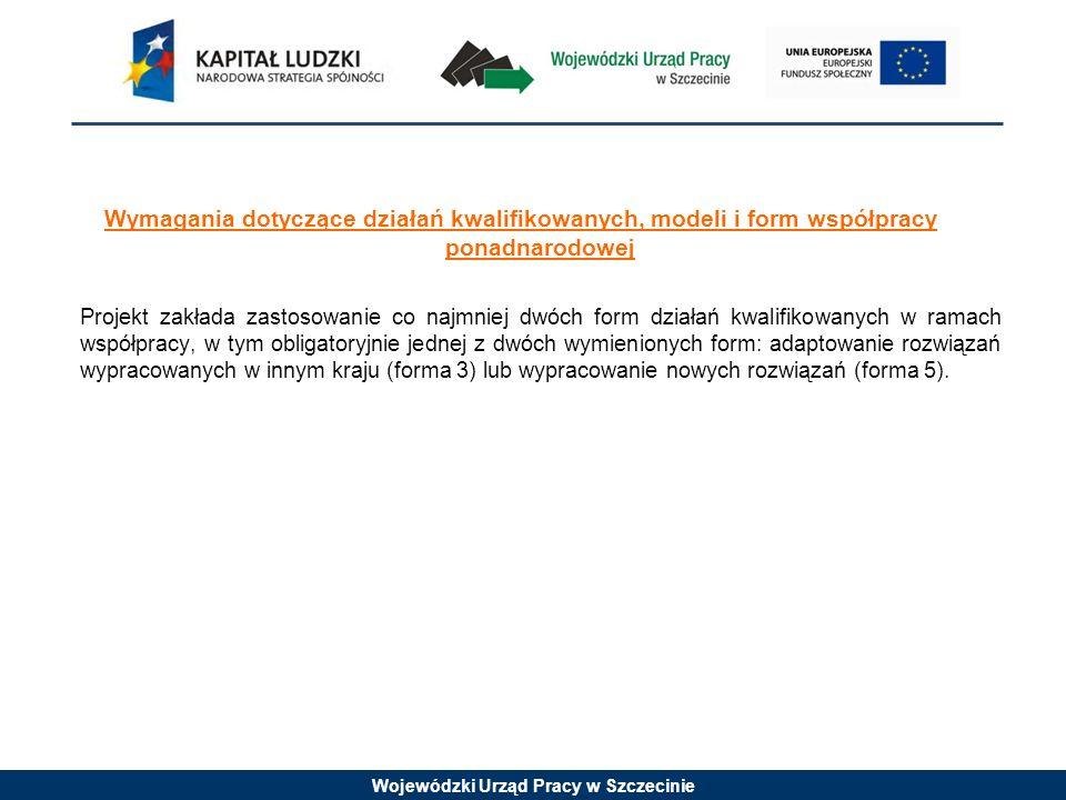 Wojewódzki Urząd Pracy w Szczecinie Wymagania dotyczące działań kwalifikowanych, modeli i form współpracy ponadnarodowej Projekt zakłada zastosowanie