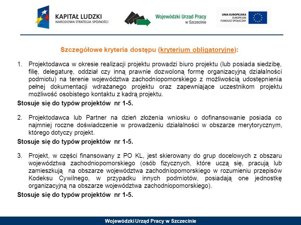 Wojewódzki Urząd Pracy w Szczecinie Szczegółowe kryteria dostępu (kryterium obligatoryjne): 1.Projektodawca w okresie realizacji projektu prowadzi biu