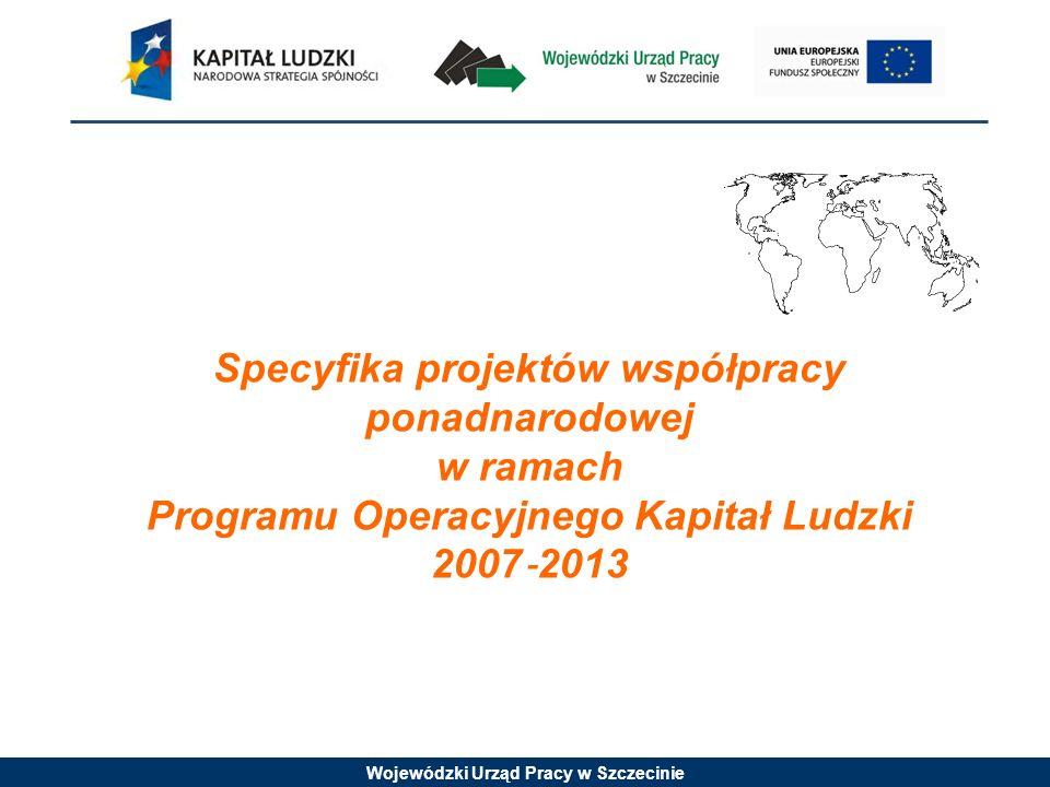 Wojewódzki Urząd Pracy w Szczecinie Specyfika projektów współpracy ponadnarodowej w ramach Programu Operacyjnego Kapitał Ludzki 2007 2013
