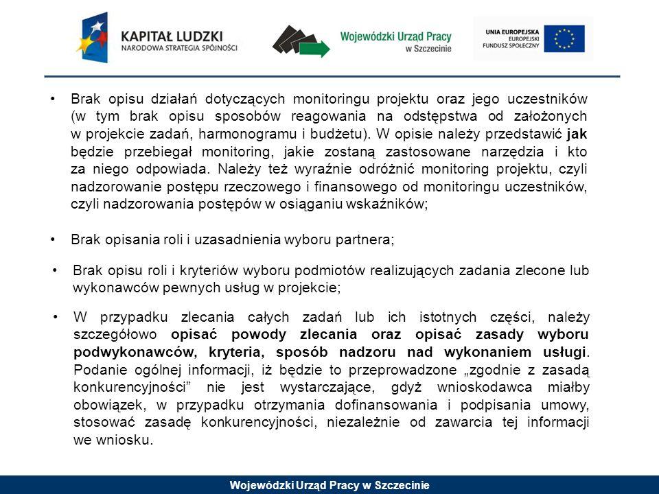Wojewódzki Urząd Pracy w Szczecinie Brak opisu działań dotyczących monitoringu projektu oraz jego uczestników (w tym brak opisu sposobów reagowania na
