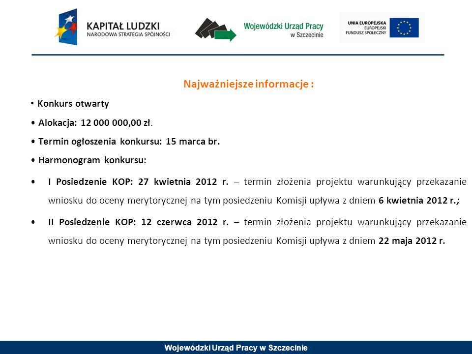 Wojewódzki Urząd Pracy w Szczecinie Najważniejsze informacje : Konkurs otwarty Alokacja: 12 000 000,00 zł.