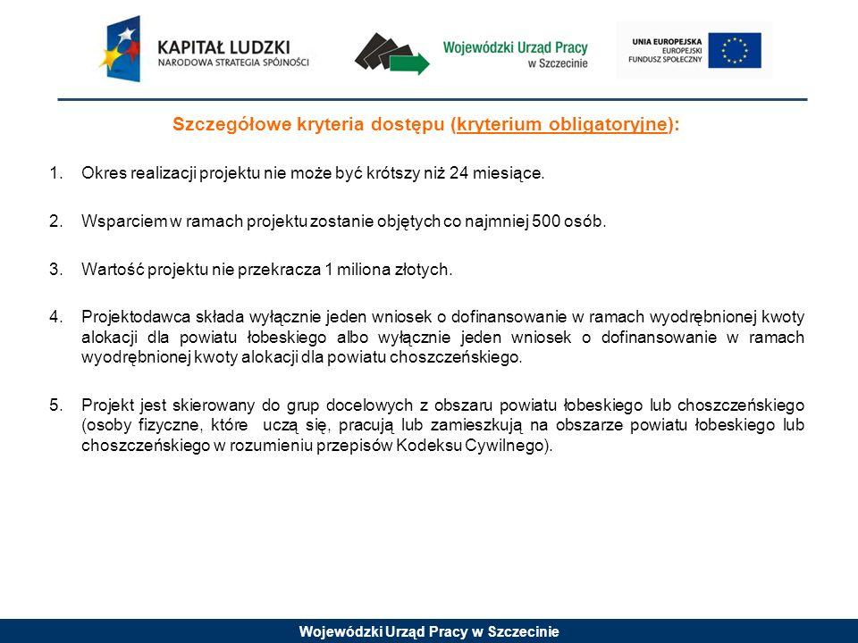 Wojewódzki Urząd Pracy w Szczecinie Szczegółowe kryteria dostępu (kryterium obligatoryjne): 1. Okres realizacji projektu nie może być krótszy niż 24 m