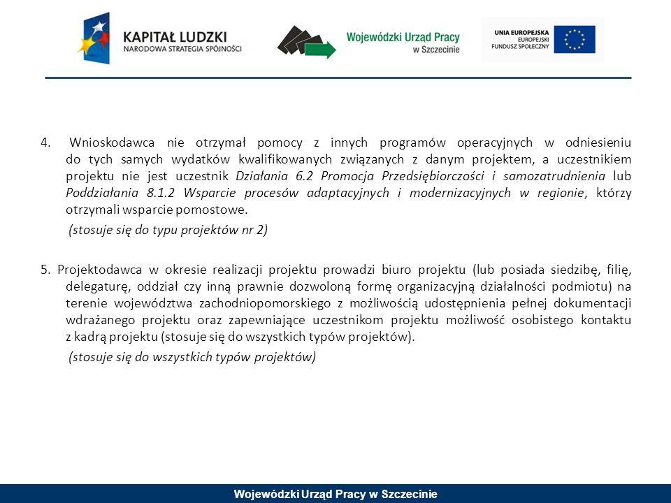 Wojewódzki Urząd Pracy w Szczecinie 4. Wnioskodawca nie otrzymał pomocy z innych programów operacyjnych w odniesieniu do tych samych wydatków kwalifik