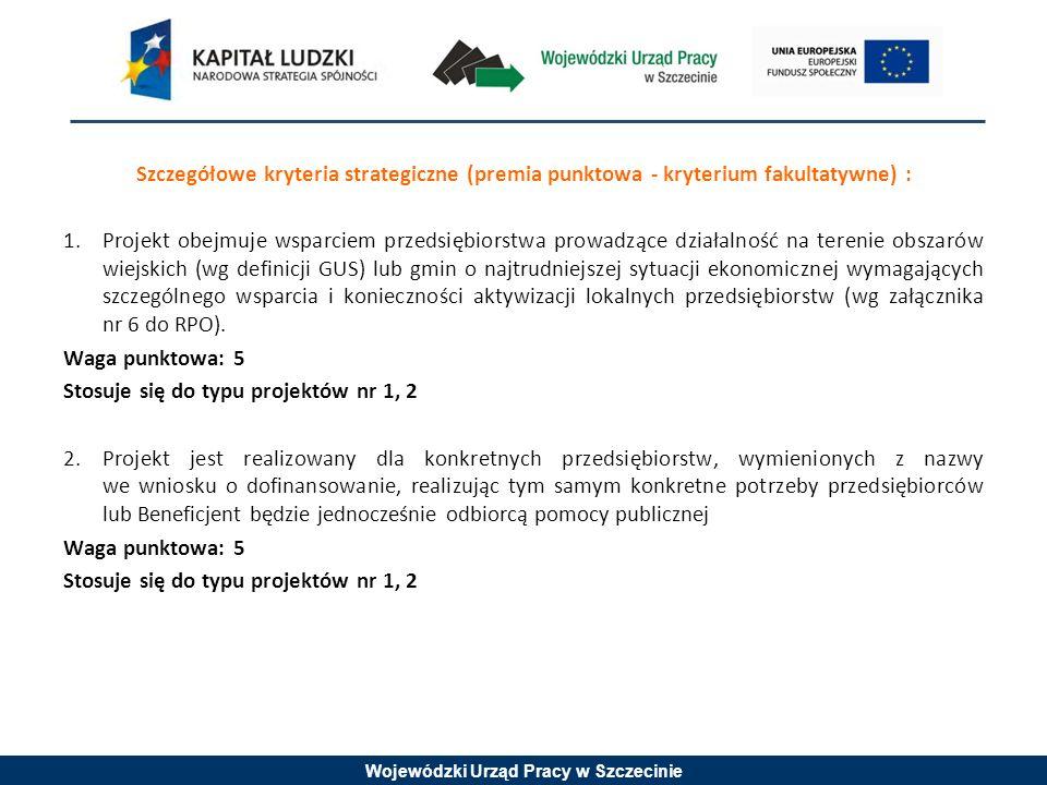 Wojewódzki Urząd Pracy w Szczecinie Szczegółowe kryteria strategiczne (premia punktowa - kryterium fakultatywne) : 1.Projekt obejmuje wsparciem przeds