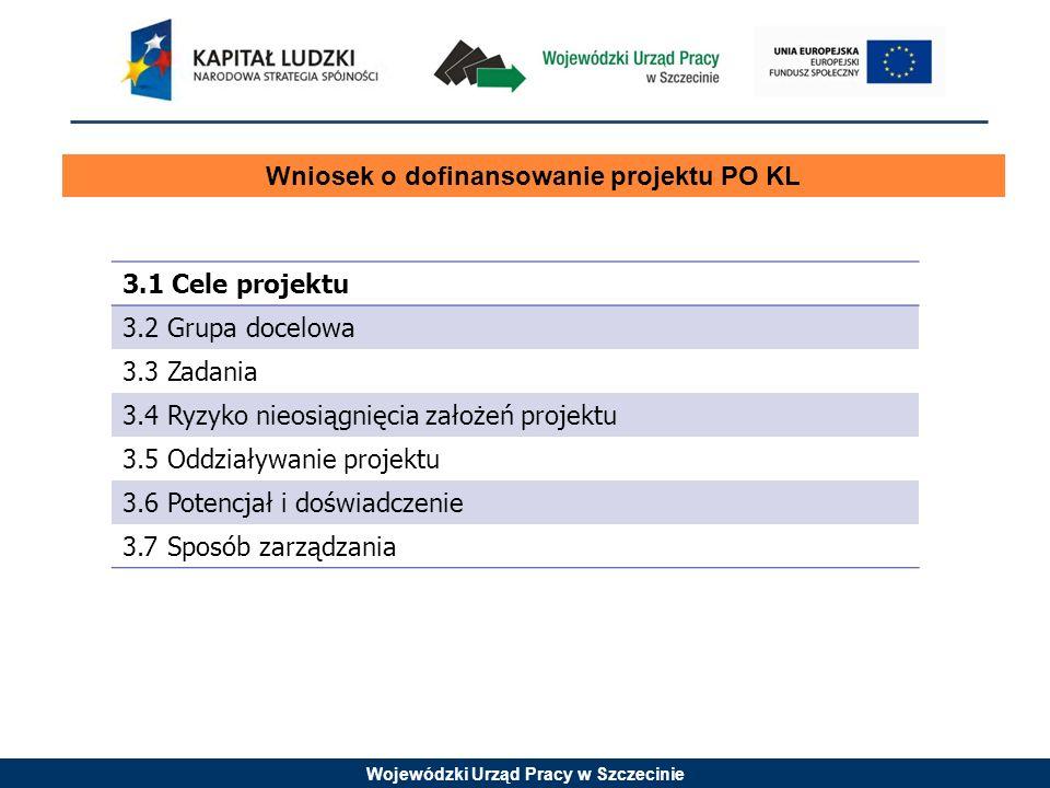 Wojewódzki Urząd Pracy w Szczecinie Wniosek o dofinansowanie projektu PO KL 3.1 Cele projektu 3.2 Grupa docelowa 3.3 Zadania 3.4 Ryzyko nieosiągnięcia