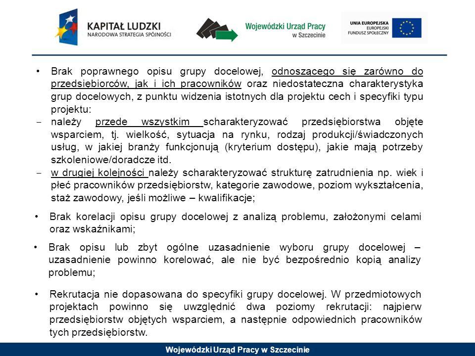Wojewódzki Urząd Pracy w Szczecinie Brak poprawnego opisu grupy docelowej, odnoszącego się zarówno do przedsiębiorców, jak i ich pracowników oraz nied