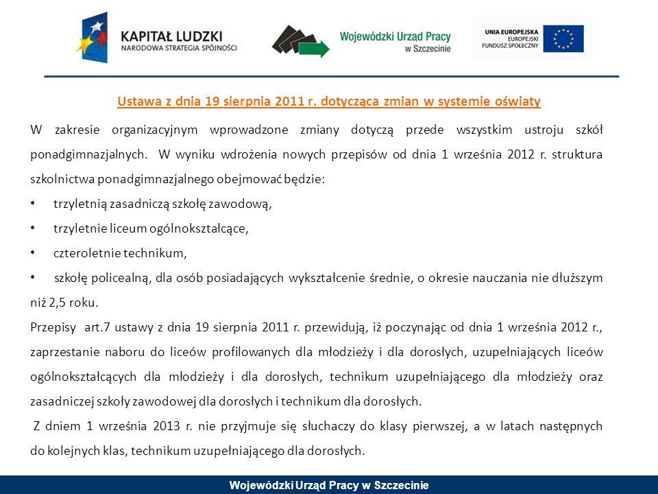 Wojewódzki Urząd Pracy w Szczecinie Ustawa z dnia 19 sierpnia 2011 r.