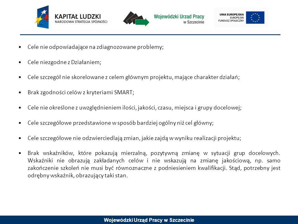 Wojewódzki Urząd Pracy w Szczecinie Cele nie odpowiadające na zdiagnozowane problemy; Cele niezgodne z Działaniem; Cele szczegół nie skorelowane z celem głównym projektu, mające charakter działań; Brak zgodności celów z kryteriami SMART; Cele nie określone z uwzględnieniem ilości, jakości, czasu, miejsca i grupy docelowej; Cele szczegółowe przedstawione w sposób bardziej ogólny niż cel główny; Cele szczegółowe nie odzwierciedlają zmian, jakie zajdą w wyniku realizacji projektu; Brak wskaźników, które pokazują mierzalną, pozytywną zmianę w sytuacji grup docelowych.