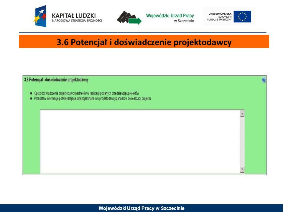 Wojewódzki Urząd Pracy w Szczecinie 3.6 Potencjał i doświadczenie projektodawcy