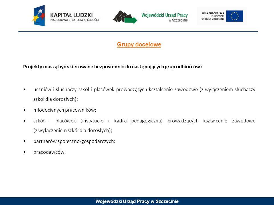 Wojewódzki Urząd Pracy w Szczecinie Grupy docelowe Projekty muszą być skierowane bezpośrednio do następujących grup odbiorców : uczniów i słuchaczy szkół i placówek prowadzących kształcenie zawodowe (z wyłączeniem słuchaczy szkół dla dorosłych); młodocianych pracowników; szkół i placówek (instytucje i kadra pedagogiczna) prowadzących kształcenie zawodowe (z wyłączeniem szkół dla dorosłych); partnerów społeczno-gospodarczych; pracodawców.