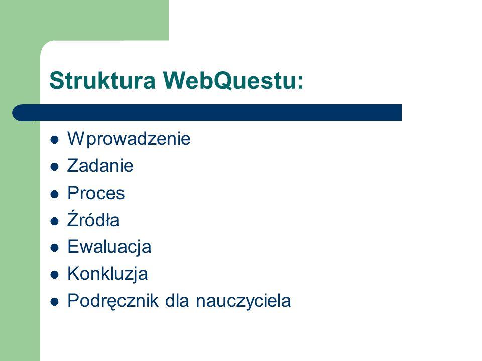 Struktura WebQuestu: Wprowadzenie Zadanie Proces Źródła Ewaluacja Konkluzja Podręcznik dla nauczyciela