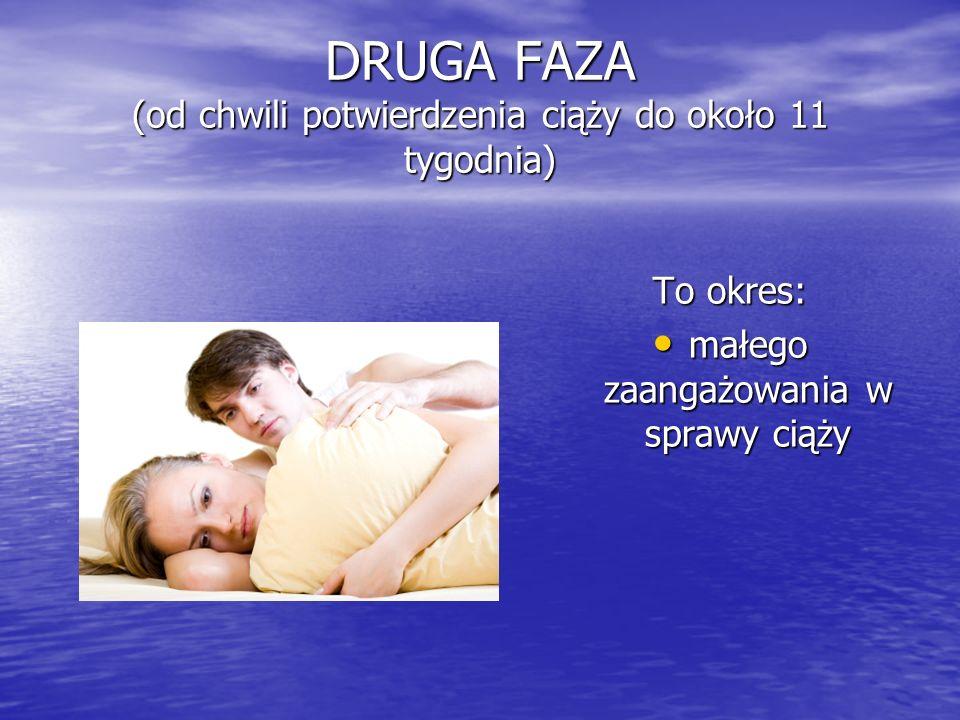 DRUGA FAZA (od chwili potwierdzenia ciąży do około 11 tygodnia) To okres: małego zaangażowania w sprawy ciąży małego zaangażowania w sprawy ciąży