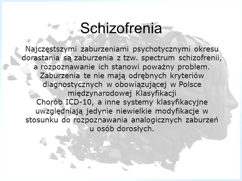 Schizofrenia Najczęstszymi zaburzeniami psychotycznymi okresu dorastania są zaburzenia z tzw. spectrum schizofrenii, a rozpoznawanie ich stanowi poważ