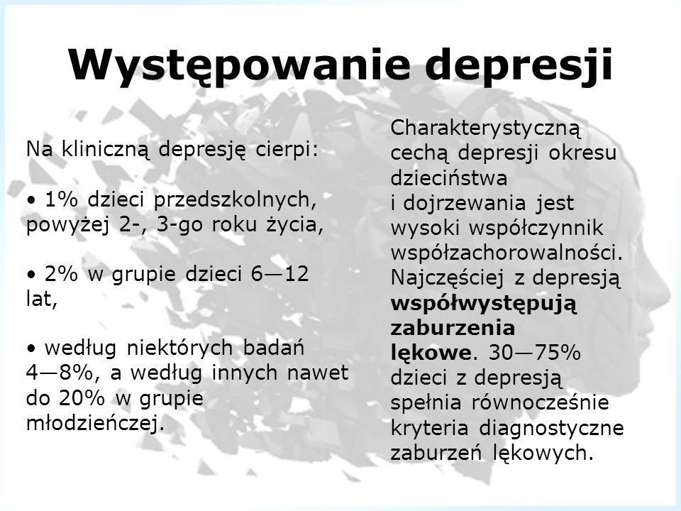 Występowanie depresji Na kliniczną depresję cierpi: 1% dzieci przedszkolnych, powyżej 2-, 3-go roku życia, 2% w grupie dzieci 612 lat, według niektóry