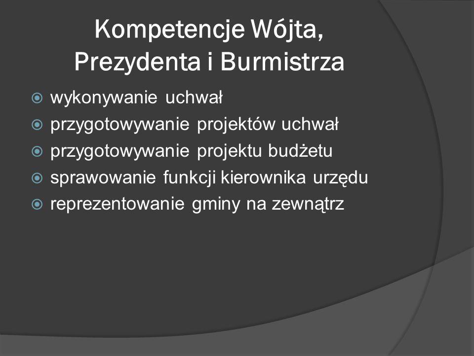 Kompetencje Wójta, Prezydenta i Burmistrza wykonywanie uchwał przygotowywanie projektów uchwał przygotowywanie projektu budżetu sprawowanie funkcji ki