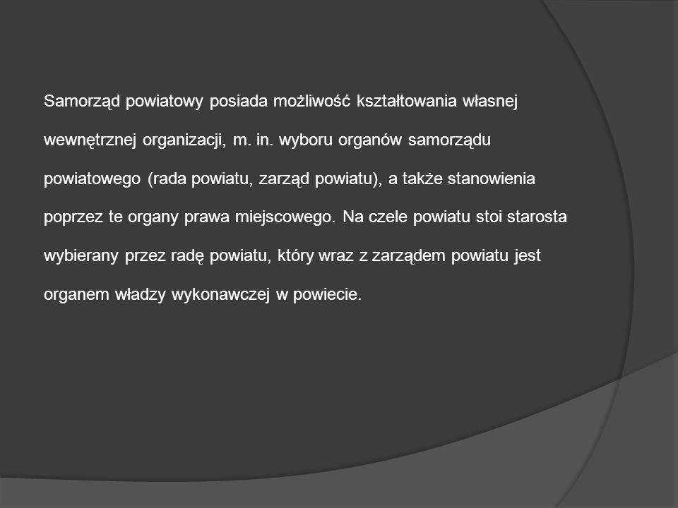 Samorząd powiatowy posiada możliwość kształtowania własnej wewnętrznej organizacji, m. in. wyboru organów samorządu powiatowego (rada powiatu, zarząd